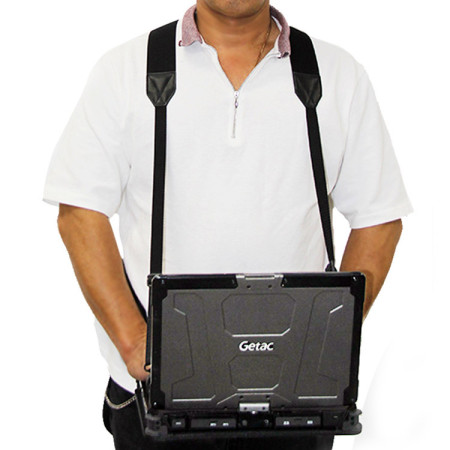 Rugged Chest Mount Laptop Harness in use