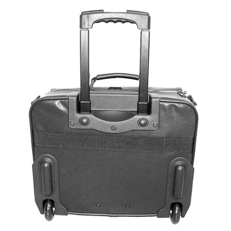 Black suitcase with wheels